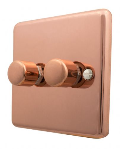 G&H CBC12 Standard Plate Bright Copper 2 Gang 1 or 2 Way 40-400W Dimmer Switch